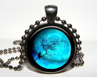 NIGHT fULL MOON pendant night blue moon necklace moon jewelry Moon twilight locket Midnight jewelry Tree Necklace for men Art Gift for women