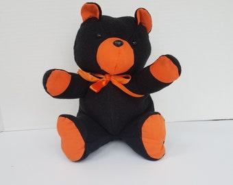 Black and Orange Teddy bear - Flannel Teddy Bear - Small Teddy Bear - Handmade Teddy Bear - Halloween - Teddy Bear  - Stuffed Teddy Bear
