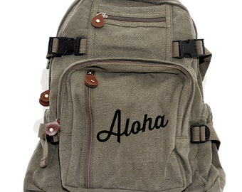 Backpack, Aloha, Canvas Backpack, School Backpack, Laptop Bag, Hawaiian Gift, Girls Backpack, Travel, Diaper Bag, Back to School