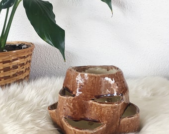 Handmade Pottery Hen and Chicks Planter, Vintage Ceramic Planter, 1970s Succulent Planter, Signed Pottery