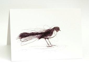 Willie Wagtail, Greeting Card, Bird Art Card, Bridget Farmer, Bird Art