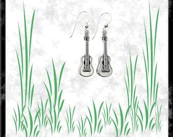 Guitar Sterling Silver Earrings