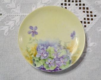 Vintage Decorative Plate Violets Hand Painted Signed FM Barlow Purple Green Floral PanchosPorch