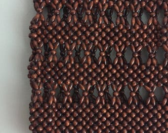 Dark Chocolate 70s beaded handbag