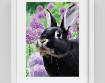 Bunny amongst the Allium, Giclée art print