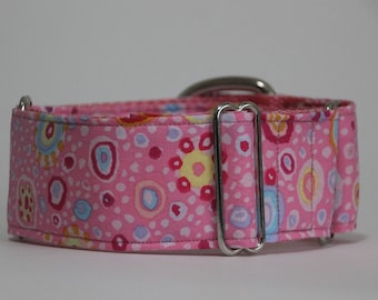 "Greyhound Pink Roman Glass 2"" Martingale Collar"
