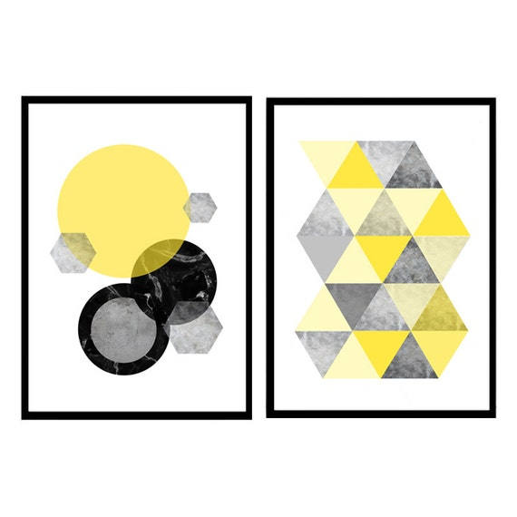 Prints set of 2 Abstract Marble prints Geometric Yellow wall