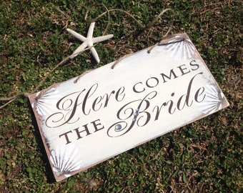 Here comes the bride, sign, nautical style, beach wedding...great design....still affordable