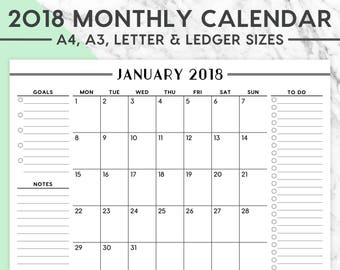 2018 MONTHLY WALL CALENDAR | A4, A3, Letter, Ledger, 2018 Planner, 2018 Calendar, 2018 Monthly Calendar, Instant Download