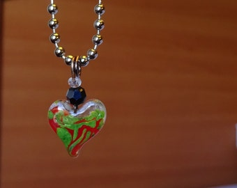 Sea Green and Red Heart Necklace (N34)