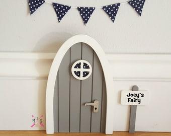 Fairy door with personalised signpost. Grey with miniature bunting in fabric navy polka-dot, mouse door, elf door, tooth fairy - boys room