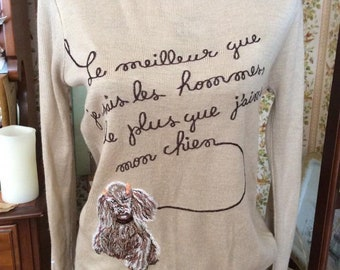 Vintage 1970s Sweater Pullover Style Novelty POODLE Theme Stitched Dog Bones On Sleeves All Acrylic Light Beige Makers Label: YN LES