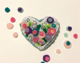Felt Hand Made Valentine's Flower Heart Pin/Brooch with Glass Beads