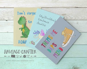Fun and inspirational quote postcards / notecards - series 4. Thems me daps, Why fit in unicorn, Be roarsome dinosaur