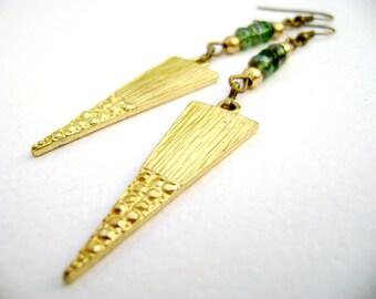 Spike Tribal tourmaline - Enamored- long earrings