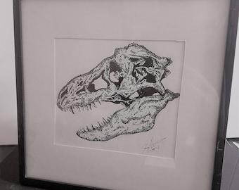 T-Rex Skull Drawing