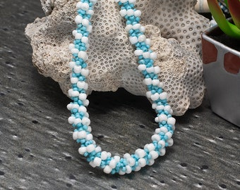 Beaded Necklace, Blue, Seed Bead Necklace, Boho Necklace, Simple Necklace, Bohemian Necklace, Beadwork Jewelry, Sale