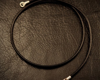 Black Italian leather necklace with 925 sterling silver findings