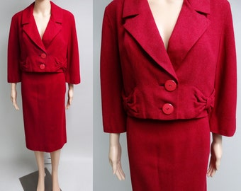 Vintage 1950s Suit//Designer//Chappi//50s Suit//Walker Brothers//Bow Accents//Wiggle Skirt//New Look//Mod//Rockabilly//