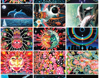 Set of 14 UV Black Light Fluorescent & Glow In The Dark Phosphorescent Psychedelic Psy Goa Trance Art Postcards
