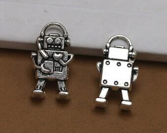 30pcs 10x17mm Antique Silver Mini Robot Charms Pendant Mechanic Charms Connector