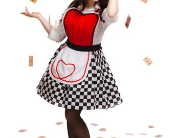 apron QUEEN Of HEARTS  .... Retro apron  hostess gift womens flirty costume full aprons kids mother daughter set