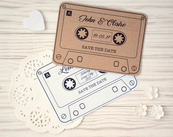 Vintage Retro Cassette Tape Save the Date Cards w/envelopes