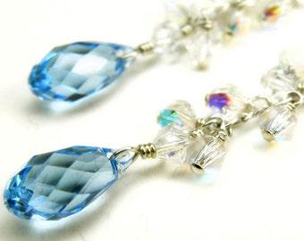 Aquamarine Swarovski Dangle Earrings, Sterling Silver, Blue Topaz Crystal, Teal Cluster, Bridesmaid Wedding Jewelry, March Birthday Gift