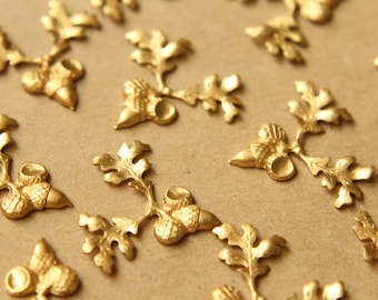 4 pc. Raw Brass Acorns and Branch Stampings: 27mm by 24mm - made in USA | RB-618