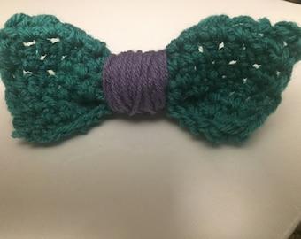 Aqua Green and Lilac Snap Bow