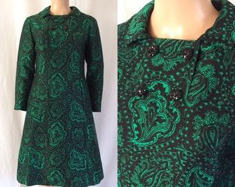 1960s Black & Emerald Paisley Print Dress Saks Fifth Avenue Sz. M