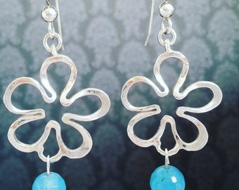 Free Shipping Rhodium plated Sterling Silver Dangle & Drop Floral Silhouette earrings - Light blue bead gem Statement earrings