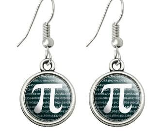 Pi math geek nerd 3.14 novelty dangling drop charm earrings