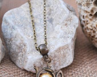 Teapot charm necklace, gold glass bead necklace, tea necklace, minimalist bronze tone necklace