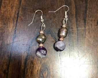 Purple and pearl ear rings