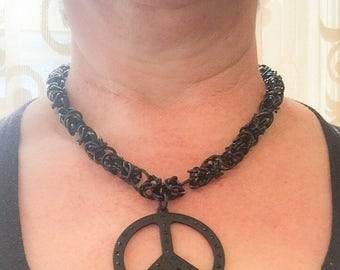 Peace Sign Pendant on Chainmaille Byzantine Weave Necklace