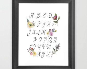 Nursery decor, Alphabet print, ABC Printable Art, Instant download, digital download, ABC Nursery Poster, Alphabet Nursery, baby shower gift