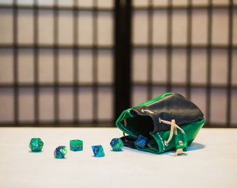 Forest Green & Navy Blue - Four-Sided Leather Dice Bag