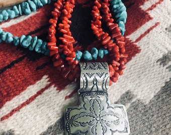 Handmade coral necklace, sterling silver cross