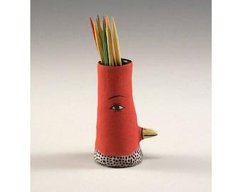 Ivan - Ceramic Bird Toothpick Holding Bud Vase by Jenny Mendes