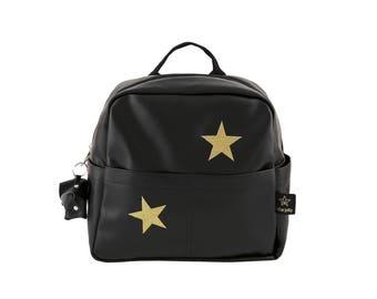 Kids backpack, Black&gold stars Toddler Bag,  preschool bag,  Kids Travel bag, Birthday gift bag, Mini Bag , Book bag, Toddler Backpack