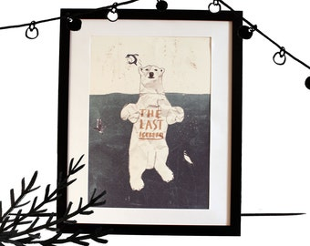 Displays The last iceberg, an original illustration, A3 printing, bear and Penguin