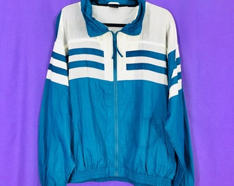 Vintage MacGregor Windbreaker Tennis Jacket Teal Off White Stripes Colorblock Crepe Nylon 90s Large Athleisure Wide Boxy Winged Sleeves