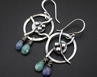 Argentium silver nest and twig circle earrings with sapphire and emeralds