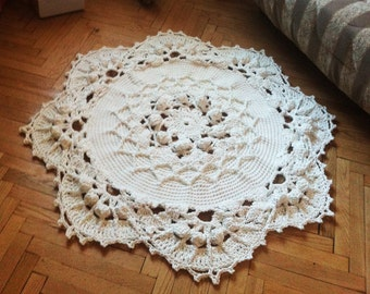 Crochet rug 50 in. Baby rug Round floor lace living room mat. Wedding gift, birthday gift, area rug