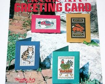 Vintage Cross Stitch Needle Art Greeting Cards, cat, rabbit, chicken