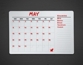 Dry Erase Acrylic Calendar with Notes - Wall Calendar - Fridge Dry Erase Calendar - Dry Erase Wall Calendar - Calendar with Notes List