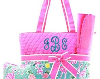 Preppy Pink Flamingo Diaper Bag WITH Monogramming Option