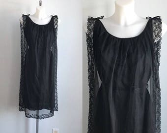 Vintage Black Chiffon Nightgown, 1960s Chiffon Nightgown, Vintage Black Nightgown, Vintage Nightgown