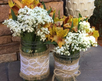 Mason Jar Wrap, Lace & Burlap Mason Jar Decoration, Wedding, Shower, Party Decoration